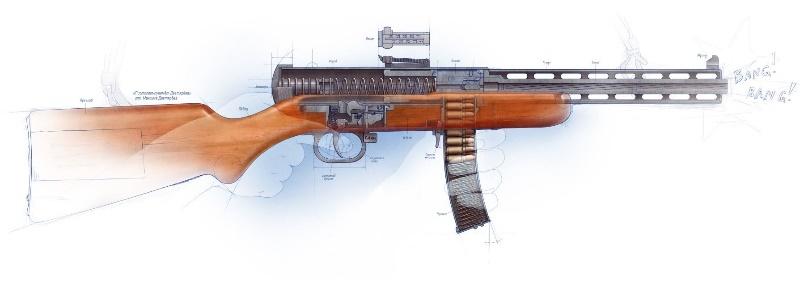 625d7db7ba54 ... saját 7,62×25 TT lőszerükkel. A szovjet fegyveres erőknél tehát, a  rendszeresített első géppisztoly a PPD34 volt (1934), ezt azonban nagyon  kis számban ...
